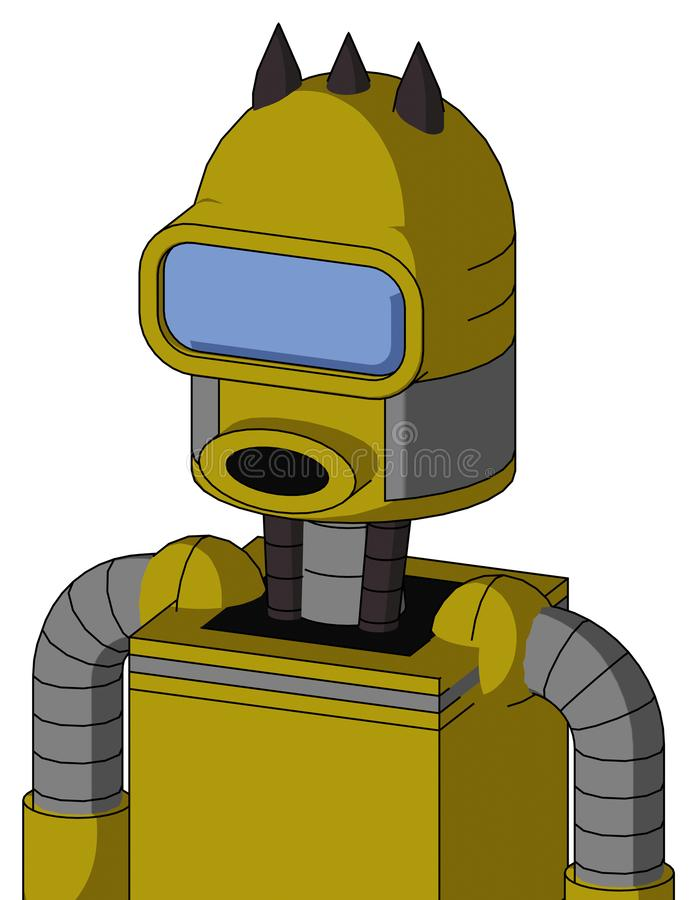 Autómata amarillo con la boca de culata abovedada y redonda y el ojo azul grande del visera y tres puntos oscuros libre illustration