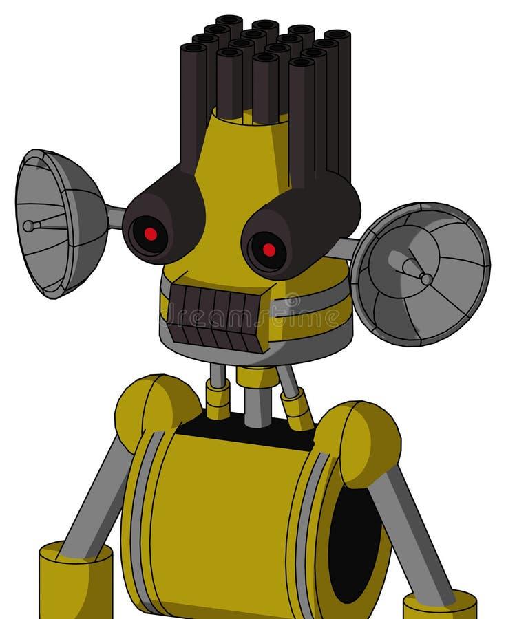 Autómata amarillo con la cabeza del cono y los ojos oscuros del boca del diente y negros y el pelo rojos del tubo que brillan int libre illustration
