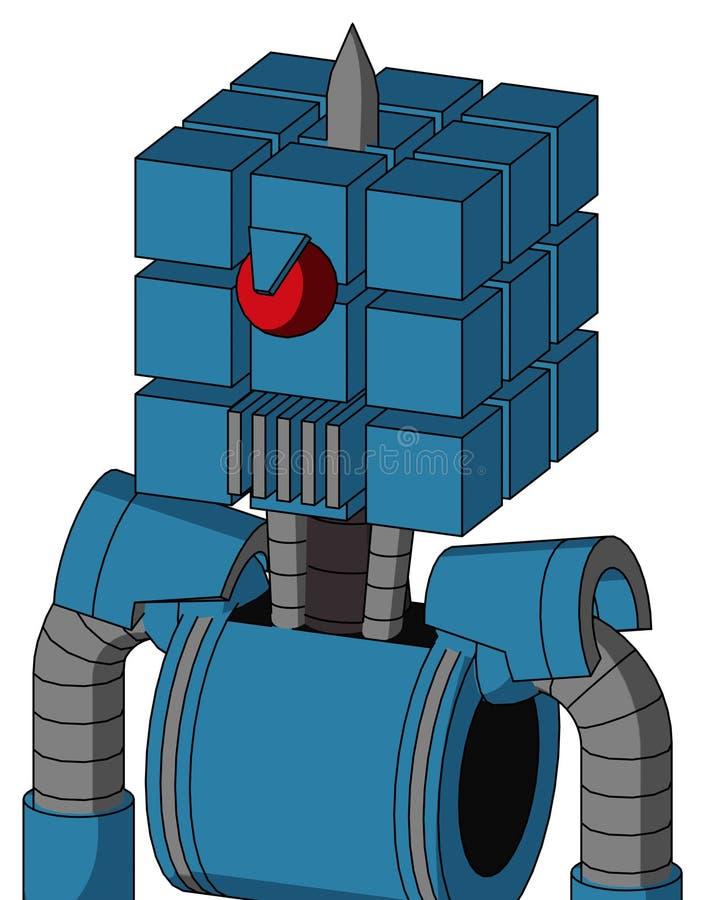 Autómata azul con la boca de la cabeza y del respiradero del cubo y los Cyclops y Spike Tip enojados stock de ilustración