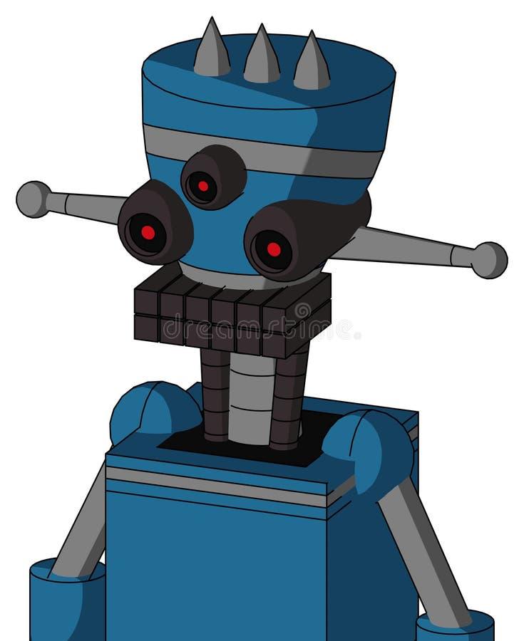 Autómata azul con la boca de la cabeza y del teclado del florero y Tres-observado y tres clavado stock de ilustración
