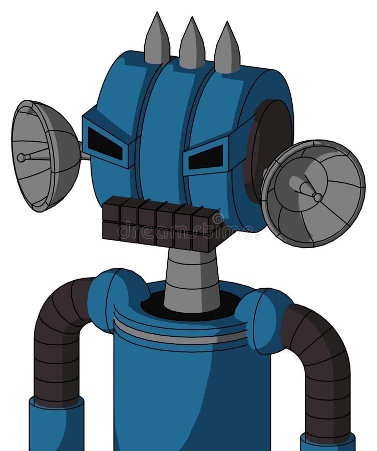 Autómata azul con la boca de la cabeza y del teclado del Multi-toroide y los ojos enojados y tres clavados stock de ilustración