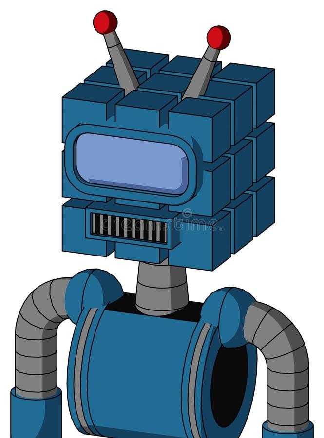 Autómata azul con la cabeza del cubo y la antena llevada azul cuadrada del boca y grande del visera del ojo y doble libre illustration