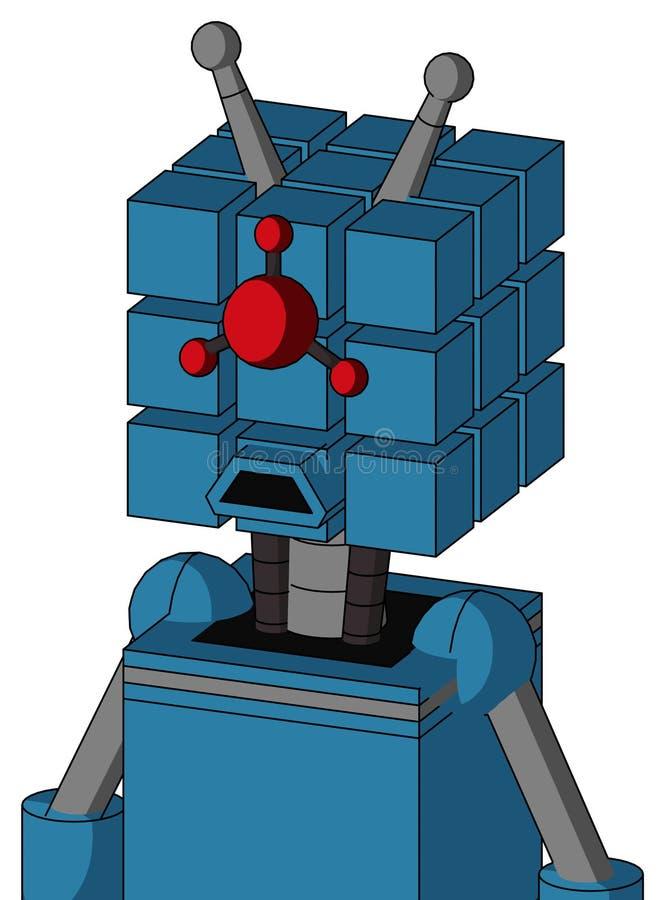 Autómata azul con la cabeza del cubo y los ojos compuestos tristes de la boca y de los Cyclops y la antena doble ilustración del vector