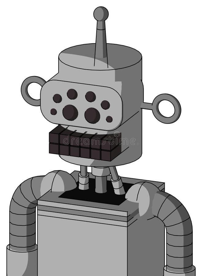 Autómata blanco con los ojos de culata y de la boca y del insecto del teclado y sola antena ilustración del vector