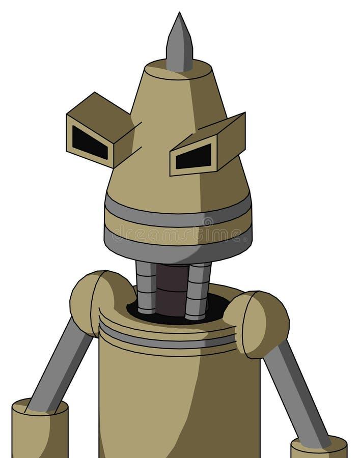 Autómata del Ejército-moreno con la cabeza del cono y ojos y Spike Tip enojados libre illustration