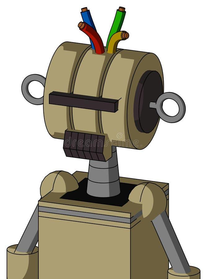 Autómata del Ejército-moreno con la cabeza del Multi-toroide y los Cyclops oscuros del boca del diente y negros del visera y el p libre illustration