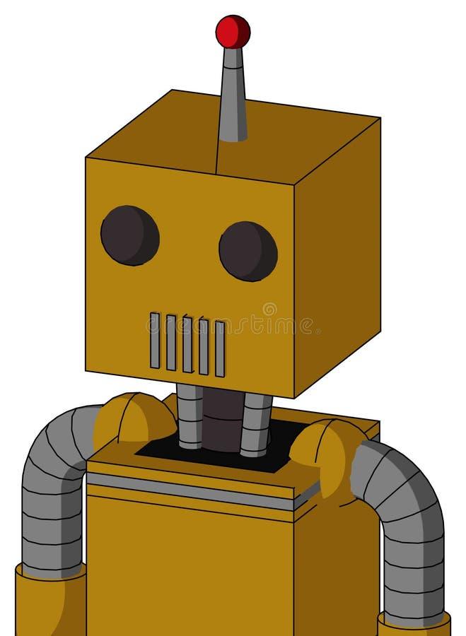 Autómata Oscuro-amarillo con la boca de la cabeza y del respiradero de la caja y dos antenas llevadas del ojo y solas ilustración del vector