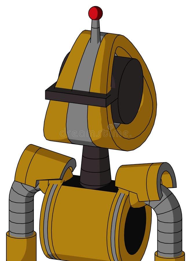 Autómata Oscuro-amarillo con la cabeza de Droid y la antena llevada negra del Cyclops del visera y sola ilustración del vector