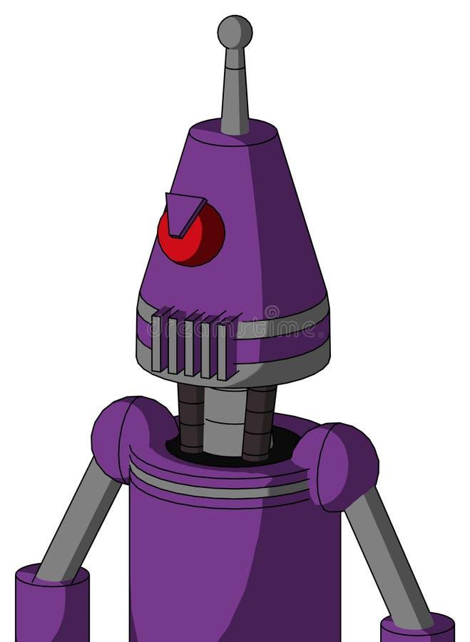 Autómata púrpura con la boca de la cabeza y del respiradero del cono y la antena enojada del Cyclops y sola ilustración del vector