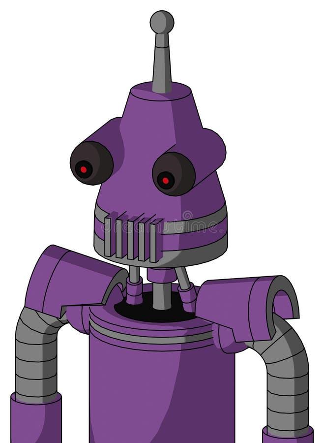 Autómata púrpura con la boca de la cabeza y del respiradero del cono y la antena observada y sola roja libre illustration