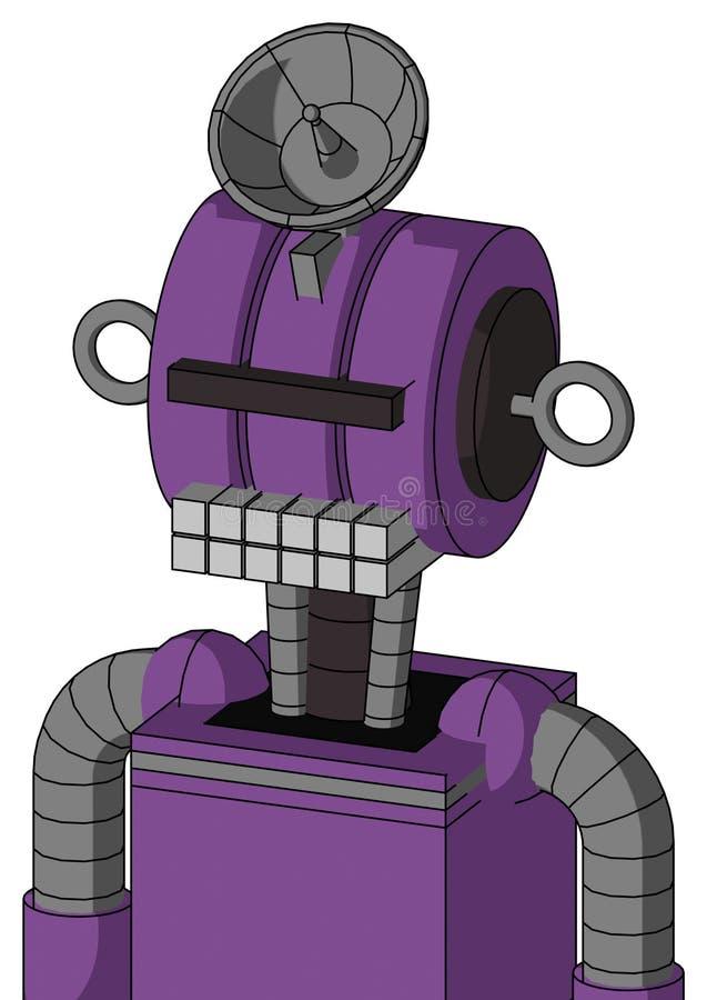 Autómata púrpura con la boca de la cabeza y del teclado del Multi-toroide y los Cyclops del visera y el sombrero negros del plato libre illustration