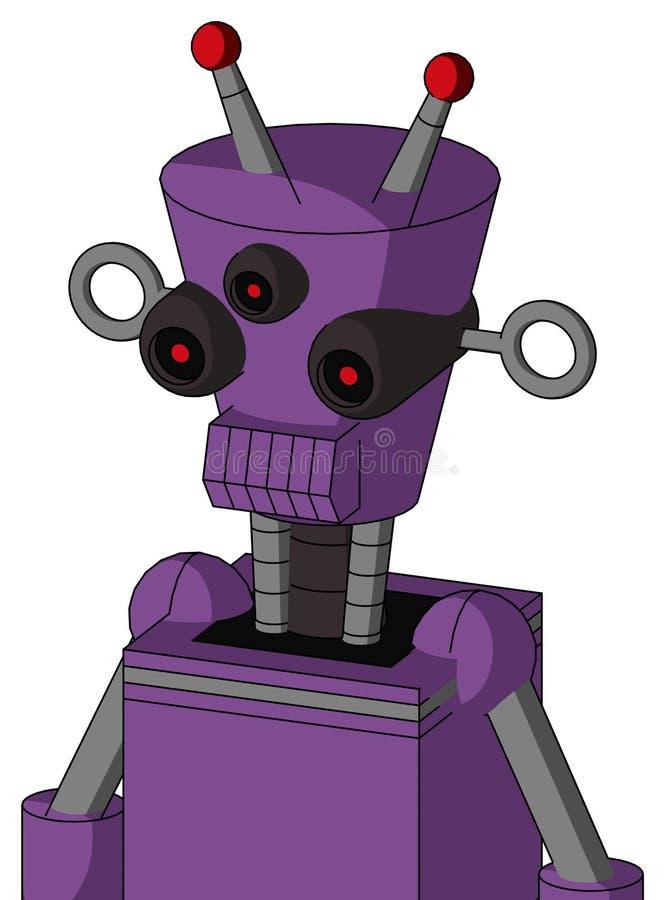 Autómata púrpura con la cabeza Cilindro-cónica y boca dentuda y antena llevada Tres-observada y doble ilustración del vector