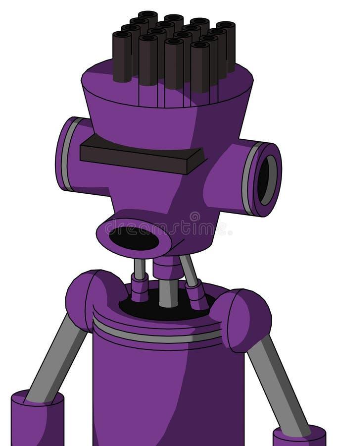 Autómata púrpura con la cabeza Cilindro-cónica y los Cyclops redondos del boca y negros del visera y el pelo del tubo ilustración del vector