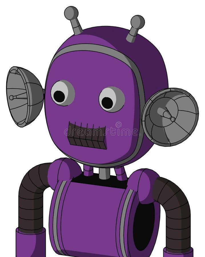 Autómata púrpura con la cabeza de la burbuja y boca oscura del diente y dos antenas del ojo y dobles libre illustration
