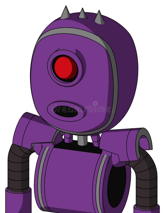 Autómata púrpura con la cabeza de la burbuja y ojo redondo de la boca y de los Cyclops y tres claveteados libre illustration