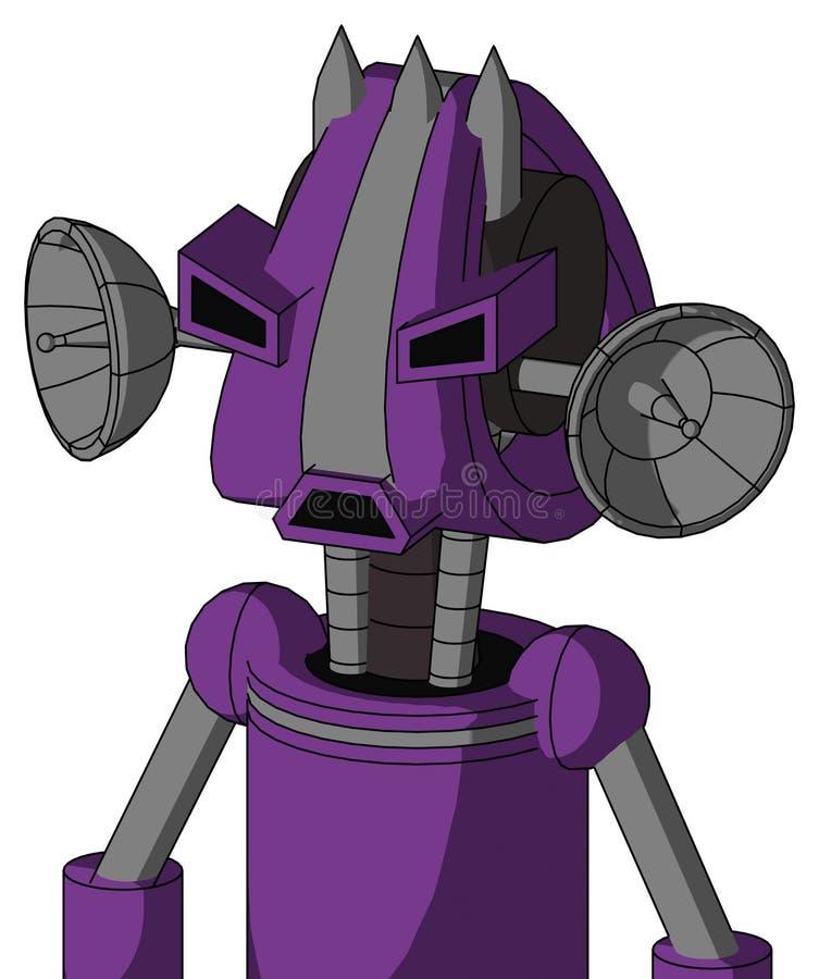 Autómata púrpura con la cabeza de Droid y ojos tristes del boca y enojados y tres clavados ilustración del vector