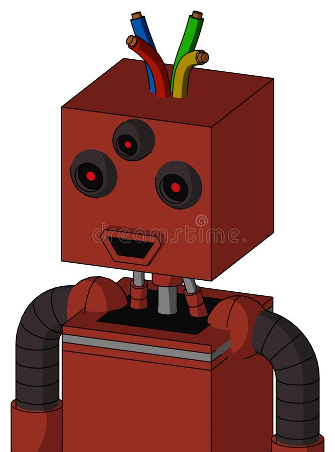 Autómata rojo con la cabeza de la caja y la boca feliz y el pelo Tres-observado y del alambre libre illustration