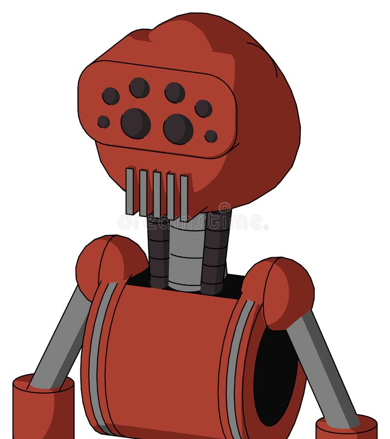 Autómata rojo con los ojos redondeados de la cabeza y de la boca y del insecto del respiradero ilustración del vector