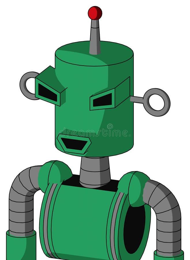 Autómata verde con culata y la antena llevada feliz del boca y enojada del ojo y sola libre illustration