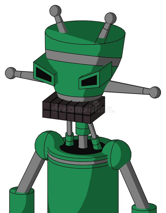 Autómata verde con la boca de la cabeza y del teclado del florero y la antena enojada del ojo y doble libre illustration