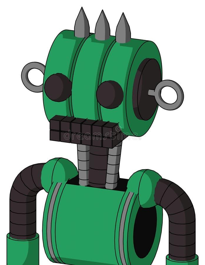 Autómata verde con la boca de la cabeza y del teclado del Multi-toroide y dos ojos y tres clavados ilustración del vector