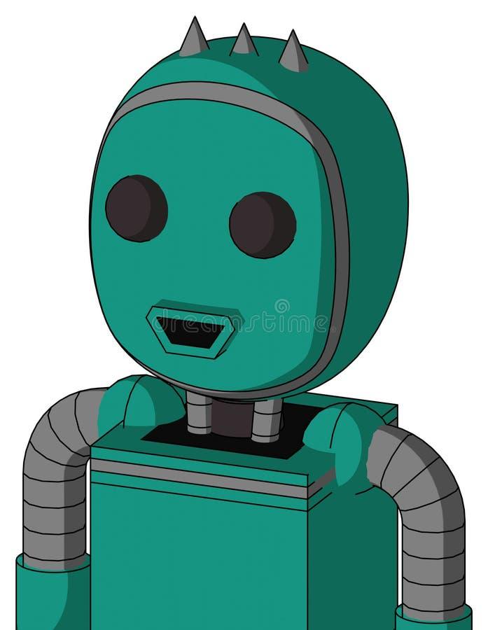 Autómata verde con la cabeza de la burbuja y boca feliz y dos ojos y tres clavados ilustración del vector
