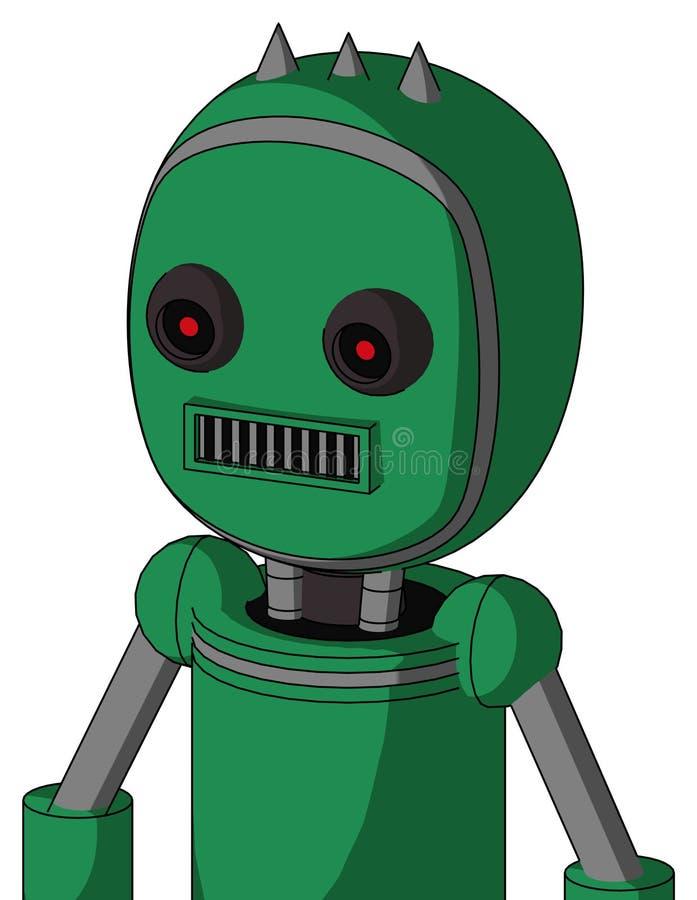 Autómata verde con la cabeza de la burbuja y ojos rojos que brillan intensamente cuadrados del boca y negros y tres clavados stock de ilustración