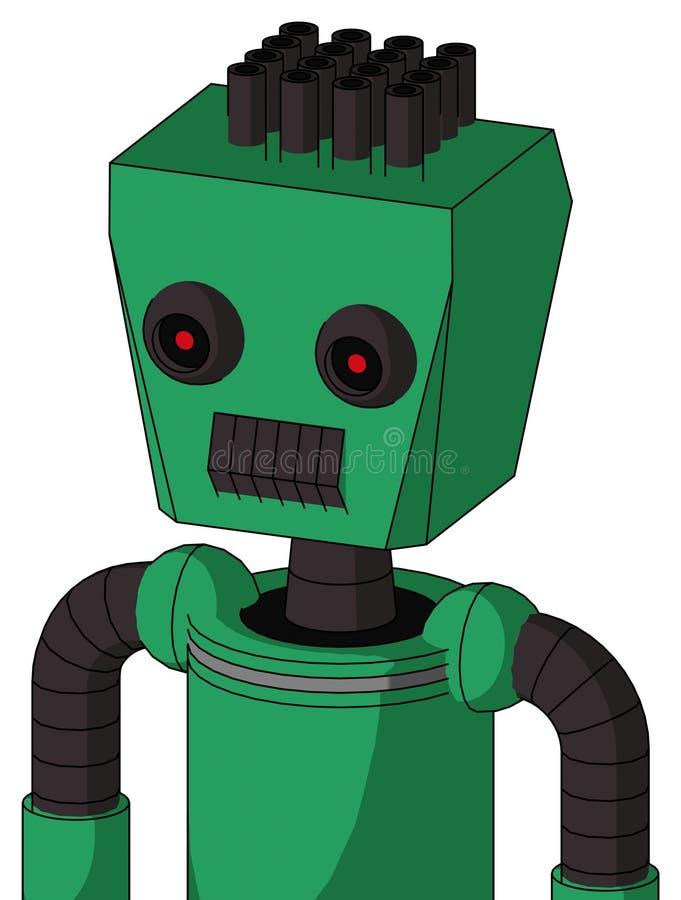 Autómata verde con la cabeza de la caja y los ojos oscuros del boca del diente y negros y el pelo rojos del tubo que brillan inte ilustración del vector
