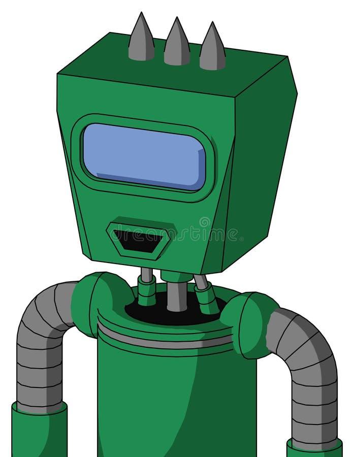 Autómata verde con la cabeza de la caja y ojo azul feliz del boca y grande del visera y tres claveteados stock de ilustración