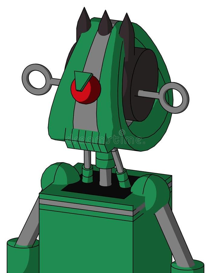 Autómata verde con la cabeza de Droid y Cyclops dentudos del boca y enojados y tres puntos oscuros ilustración del vector
