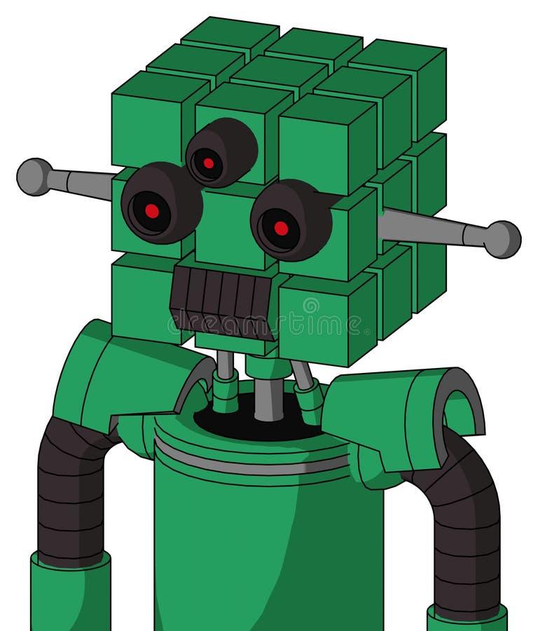 Autómata verde con la cabeza del cubo y la boca oscura del diente y Tres-observado ilustración del vector