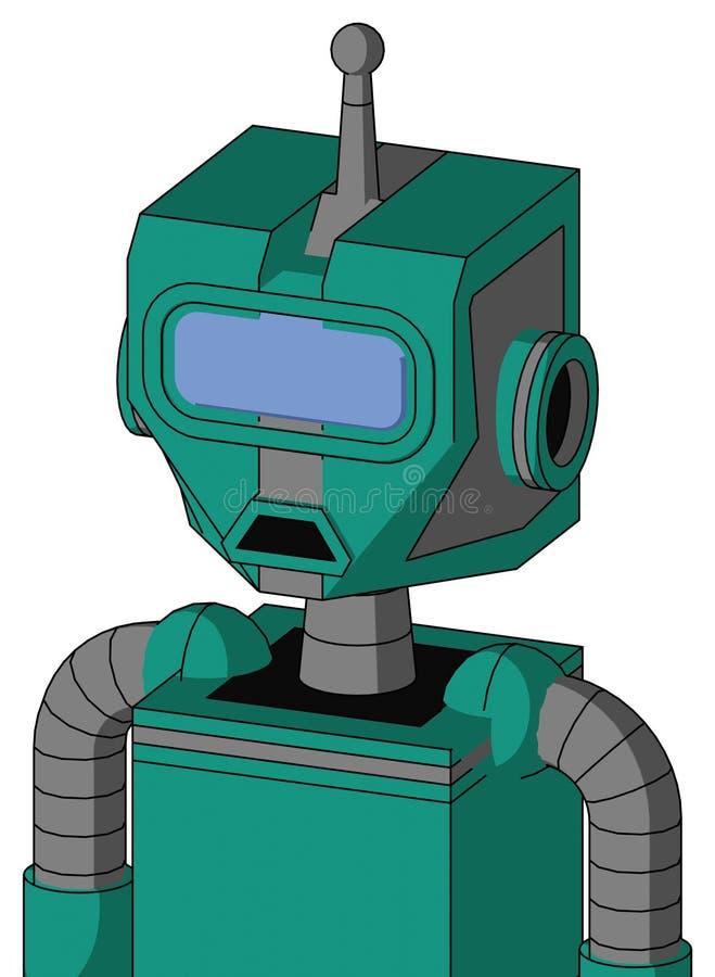 Autómata verde con la cabeza mecánica y la antena azul triste del boca y grande del visera del ojo y sola libre illustration