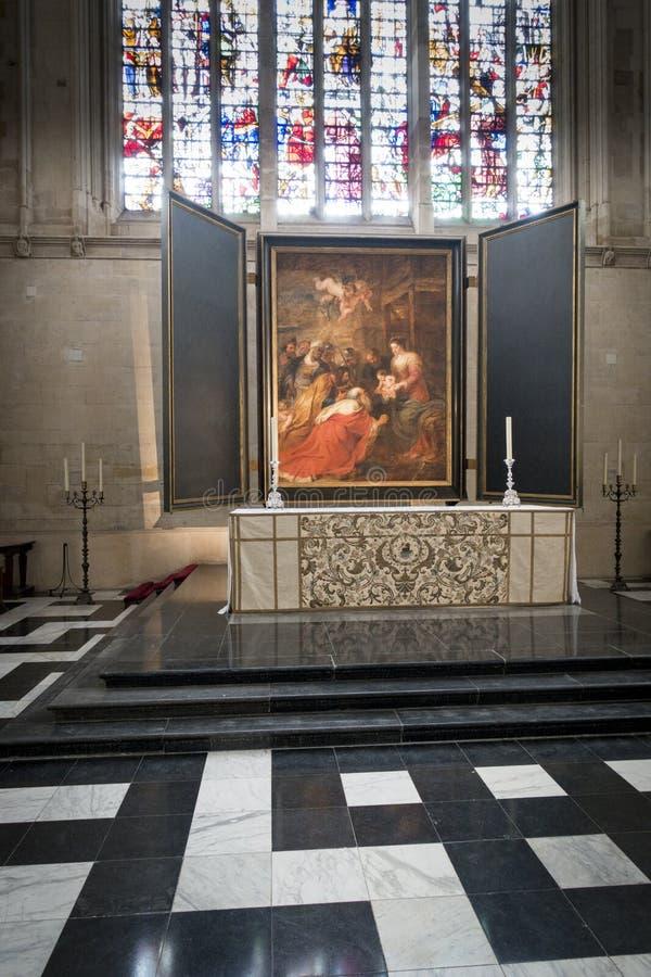 Autel, chapelle d'université du ` s de roi, Cambridge photographie stock libre de droits