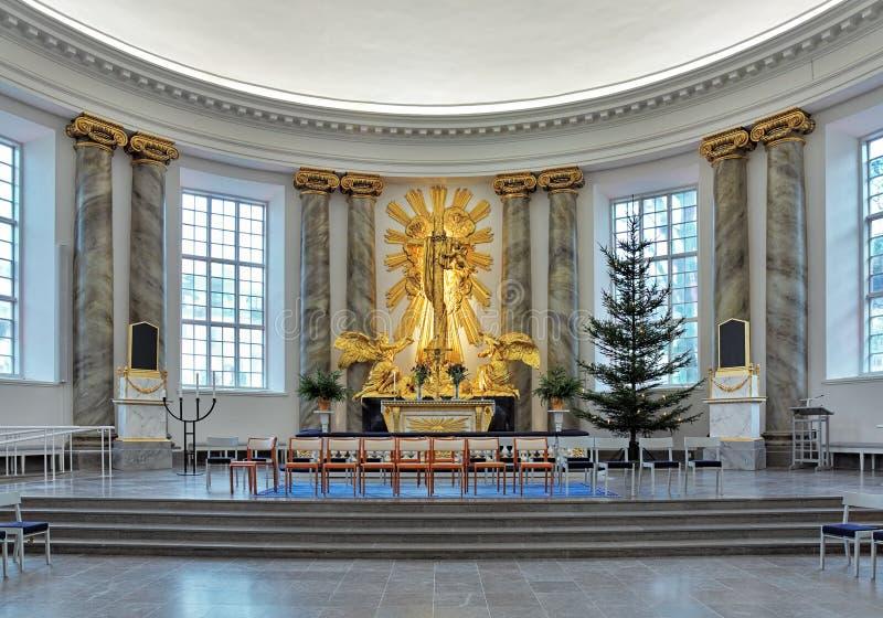 Autel de cathédrale de Gothenburg, Suède photos libres de droits