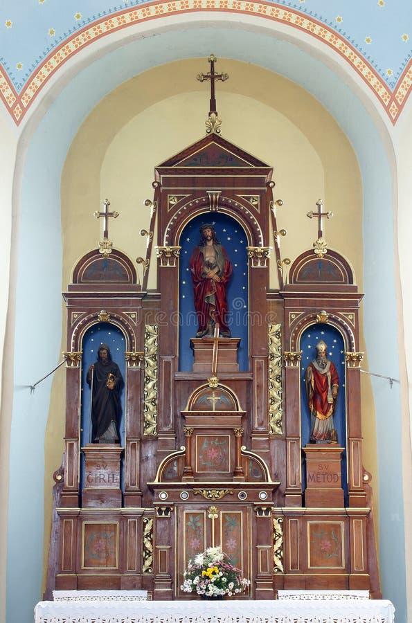 Autel lié de Jésus dans l'église de St Martin dans Scitarjevo, Croatie image stock