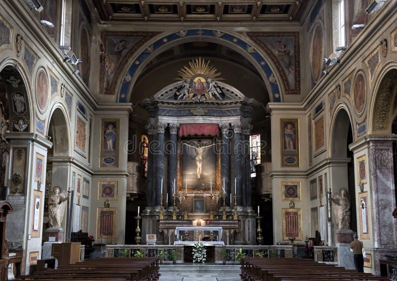Autel principal San Lorenzo de Lucina, Rome, Italie images libres de droits