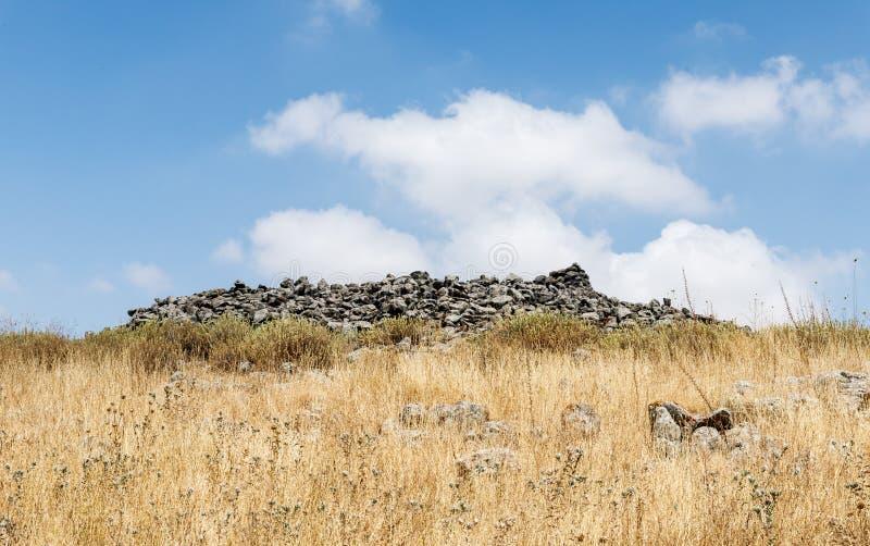 Autel rituel près du complexe mégalithique de l'âge du bronze jeune - Roues des spiritueux - Al-Hiri de Rujum - Gilgal Rephaeem  photographie stock