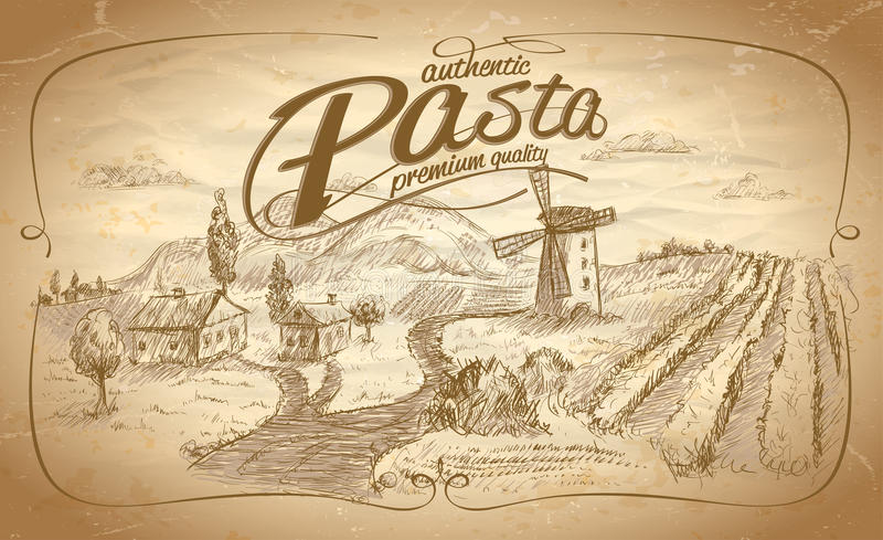 Autentic pasta label with rural landscape backdrop royalty free illustration