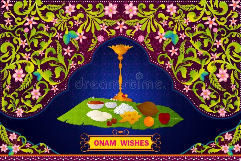 Autentichi la preparazione di alimento indiana del sud per la celebrazione felice di Onam illustrazione vettoriale