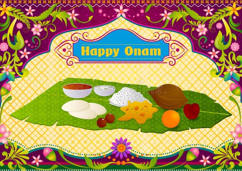 Autentique la preparación de comida india del sur para la celebración feliz de Onam ilustración del vector
