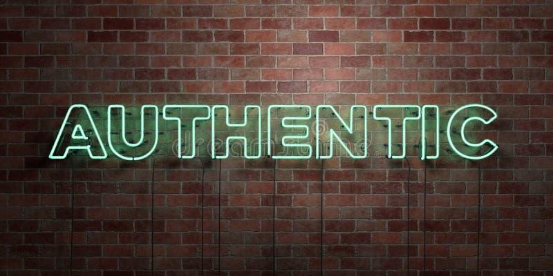 AUTENTISK - fluorescerande tecken för neonrör på murverk - främre sikt - 3D framförde den fria materielbilden för royalty stock illustrationer