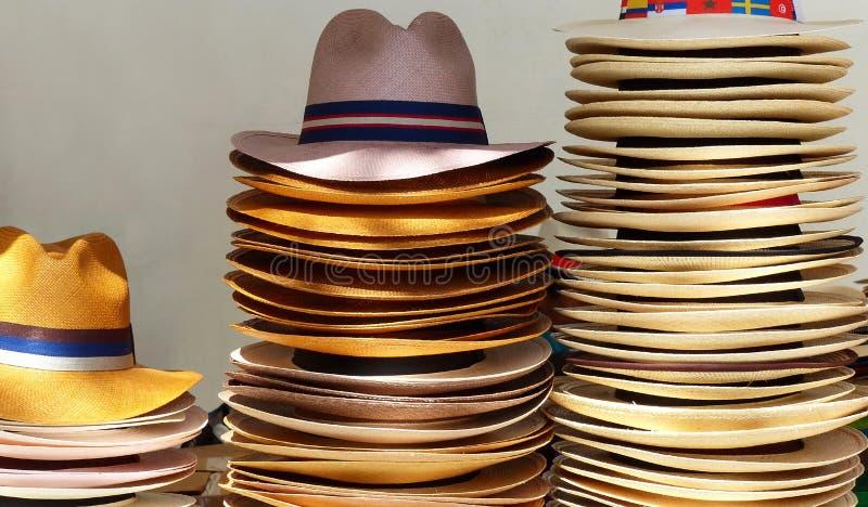 Autentiska Panama hattar på hantverkmarknaden i Cuenca, Ecuador royaltyfri foto