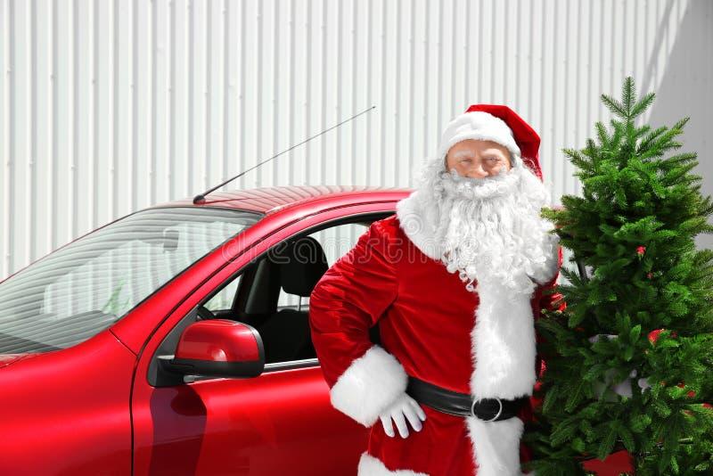 Autentiska Santa Claus med julgranen arkivfoto