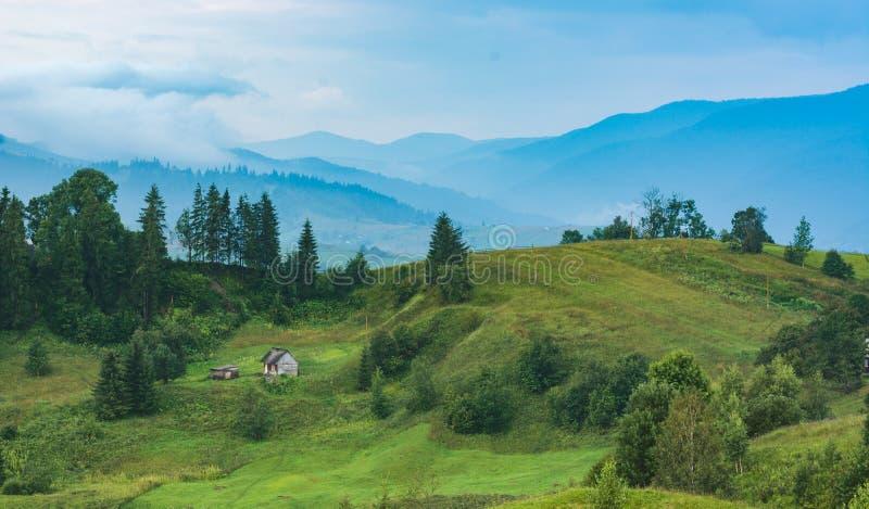 Autentiskt carpathian hus på en grön bergkulle arkivbilder