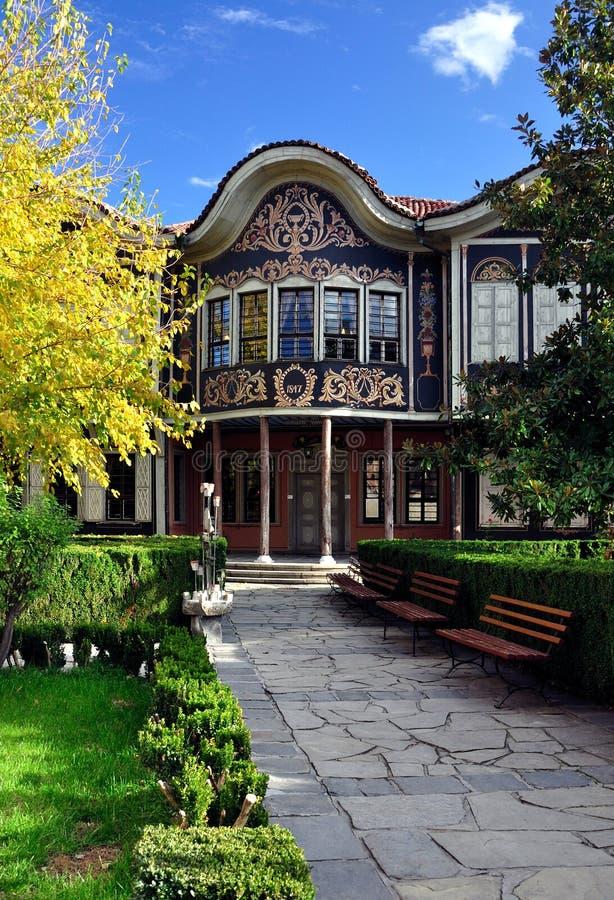autentiskt hus gammala plovdiv arkivfoto