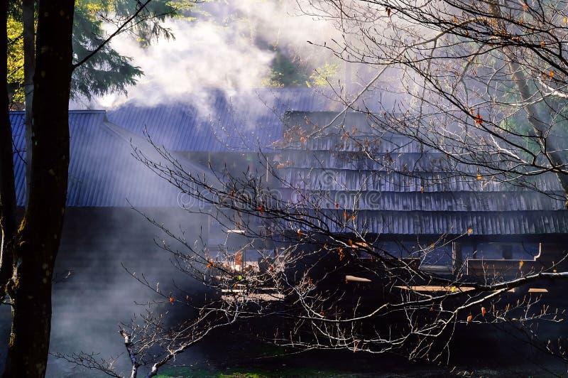 Autentiskt lantligt hus i rök mot bakgrund av den lösa naturen Carpathian berg, Ukraina, kopieringsutrymme, arkivbilder