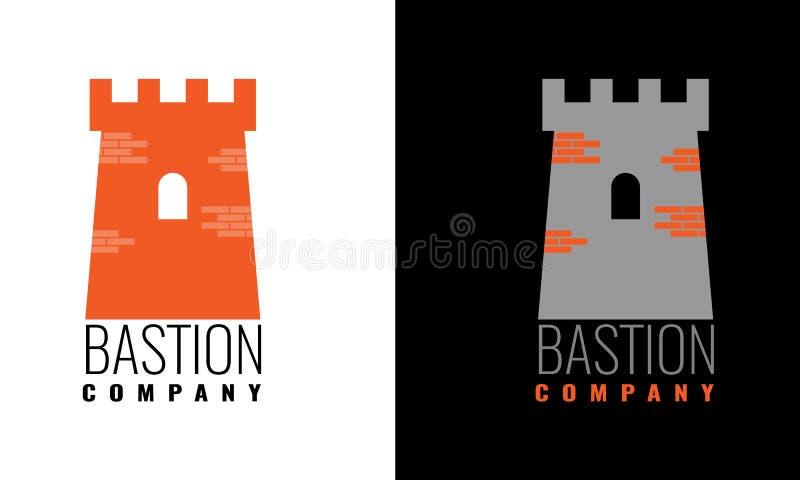 Autentiskt slotttornsymbol för logo- eller symbolsdesign också vektor för coreldrawillustration vektor illustrationer