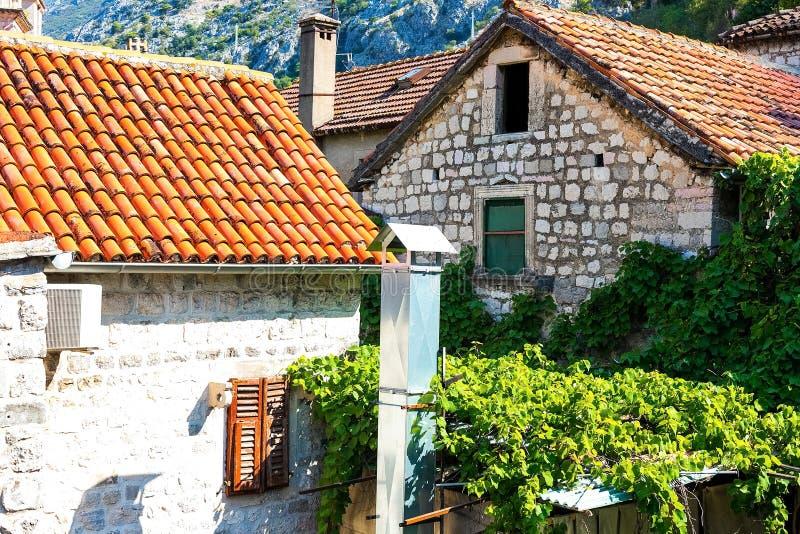 Autentiskt tegelstenvägg med härliga, gamla träslutare, fönster royaltyfri fotografi