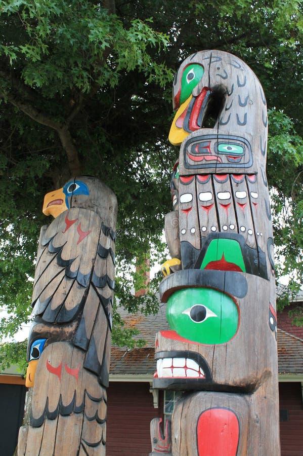 Autentyczni totemów słupy BC zdjęcie royalty free