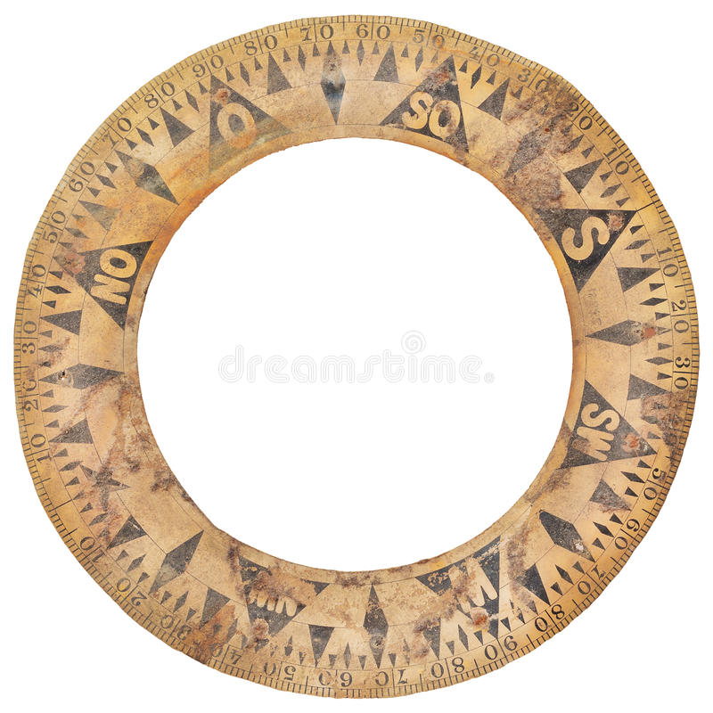 Autentyczny antyczny statku kompasu papieru pierścionek używać dla nawigaci obrazy royalty free